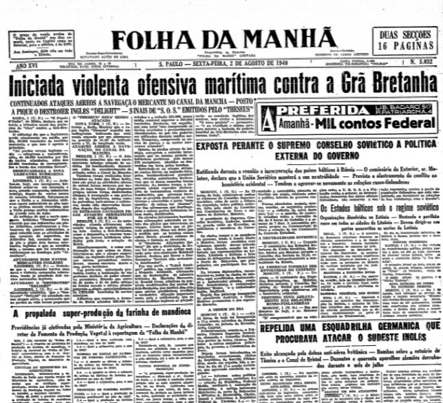 Folha da Manhã, 2 de agosto de 1940