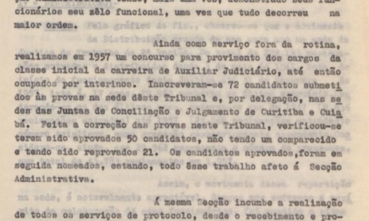Relatório Anual de Atividades do TRT-2, 1957, concurso de servidores